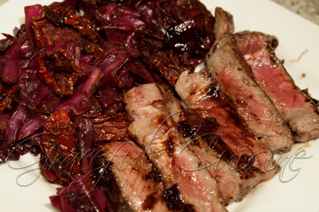 Balsamic steak with radicchio