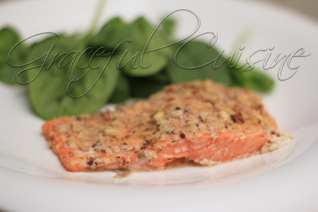 Grilled hazelnut crusted salmon