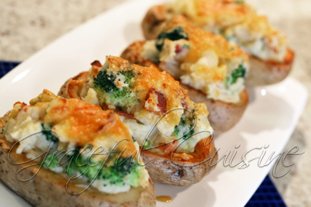 Twice baked brocooli cheddar potatoes