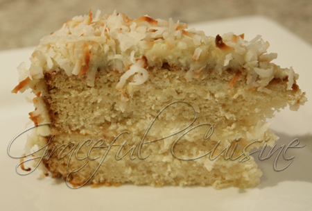 Coconut vanilla cake with coconut buttercream