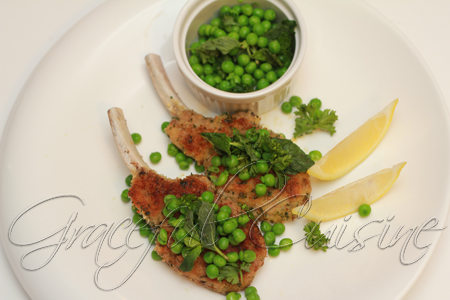 Herb Crusted Lamb Chops with Mint Peas