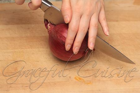 cut onion halfway vertically