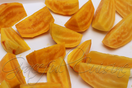 Golden beets cut into wedges