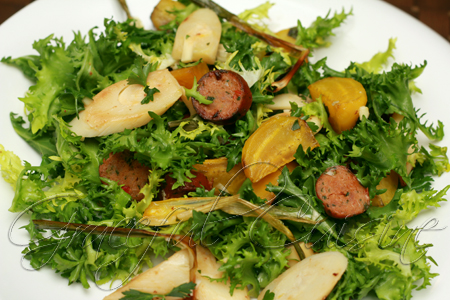Sausage, roasted golden beets and hearts of palm salad