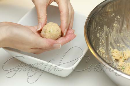 Form matzo balls with damp fingers