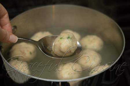 Remove matzo balls with slotted spoon