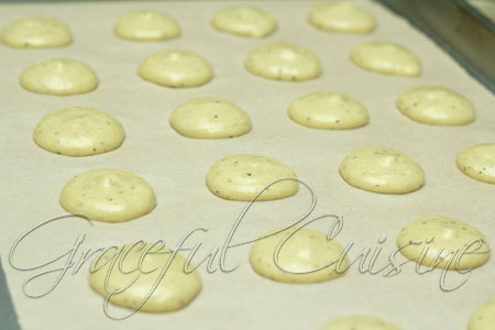 Pipe the macarons onto prepared parchment