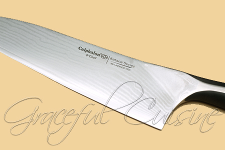 Katana chef's knife Damascus style blade