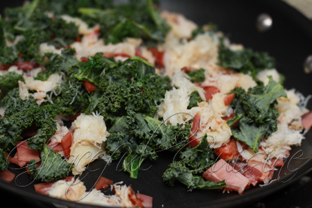 Heat prosciutto and kale
