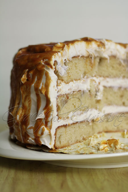 Ginger pear cake with caramel glaze