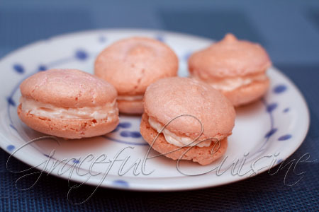 Rosewater macarons with coconut butter cream