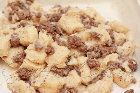 combine beef and bread mixture
