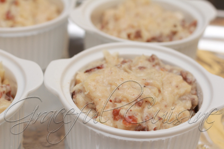 bacon cheeseburger souffle into ramekins
