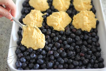 cinnamon cornbread on top of blueberries
