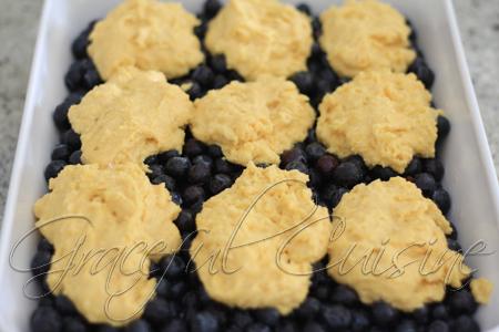 blueberry cobbler with cinnamon cornbread