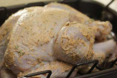 Classic herb butter on juniper brined turkey