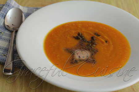 Butternut squash and leek soup with herbed butter