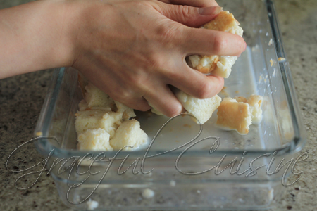 soak bread cubes in milk