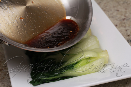 oyster sauce on bok choy